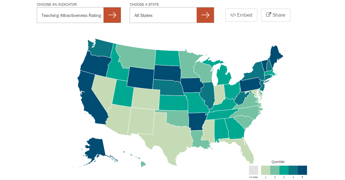 Understanding Teacher Shortages - Map of us that can be highlighted